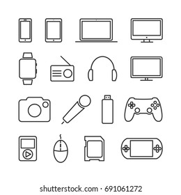 Vector image of set of devices and electronics line icons.