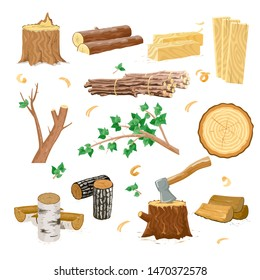 Vector image set of different examples of wood for firewood industry deforestation cartoon isolated illustration.