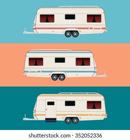 Vector image of a set of diffirent colour trailers