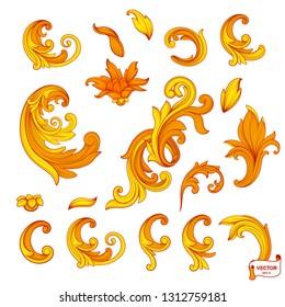 Vector image. Set of element baroque engraved floral scroll retro pattern. Orange victorian frame border ornament. Golden vintage calligraphic elements for design.