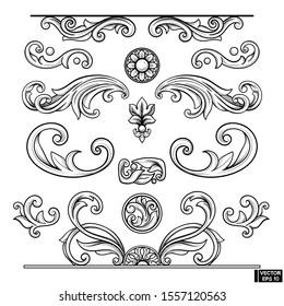 Vector image. Set of element baroque engraved floral scroll retro pattern. Black and white victorian frame border ornament. Filigree vintage calligraphic elements for design.