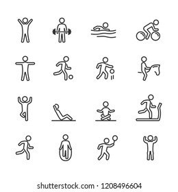 Vector image set exercise line icons.