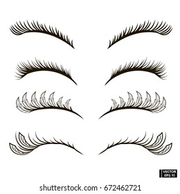 Vector image. Set of eyelashes of different volume. Eyelashes are fluffy with feathers.