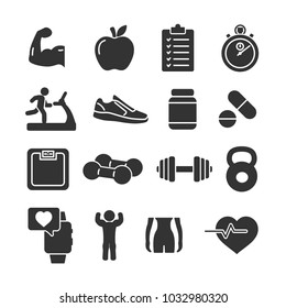 Vector image set of fitness icons.