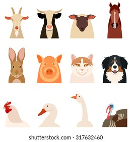 Vector image of a set of flat icons of farm animals