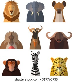 Vector image of a set with flat icons of african animals