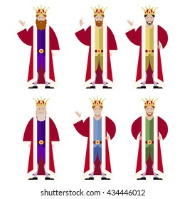 Vector image of the Set of flat king icons