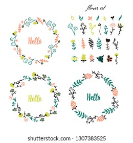 Vector image. A set of flowers and branches for decoration frames. Holiday card. Detailed drawn plants.