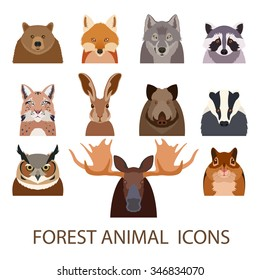 Vector image of set of forest animal flat icons