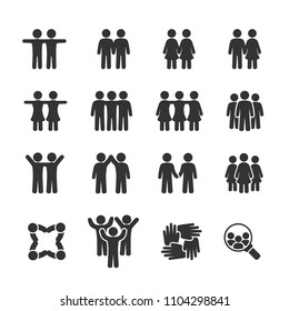Vector image set of friends and friendship icons.