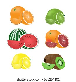 Vector image of set of fruits.