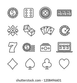 Vector image set of gambling line icons.Casino icons.