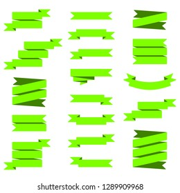 Vector image set of green ribbons banners.