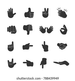 Vector image of set of hand icons.