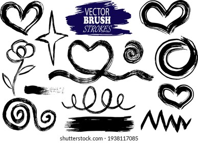 Vector image set of hand-drawn and scanned ink blobs, spots, different lines, flowers, hearts, editable, can be used for creating your own brushes and textures