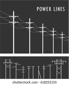 Vector image set of high-voltage poles black-and-white design element