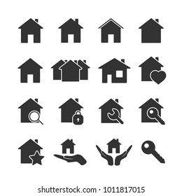 Vector image of set of house icons.