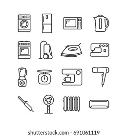 Vector image of set of household appliances icons line.