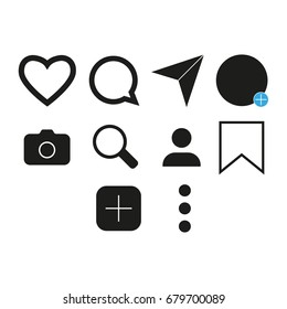 instagram icon images stock photos vectors shutterstock https www shutterstock com image vector vector image set internet icons 679700089
