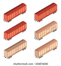 Vector image of a set of isometric refrigereator car