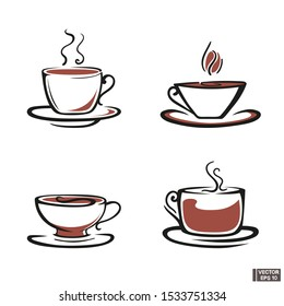 Vector image. Set of mugs icons with tea and coffee. Outline style with curls.