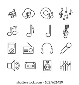Vector image set of music line icons.