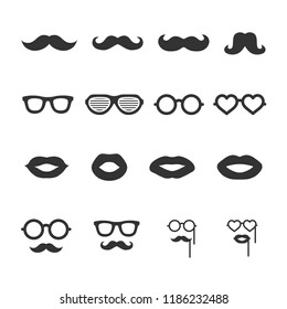 Vector image set of mustache, glasses, lips icons.