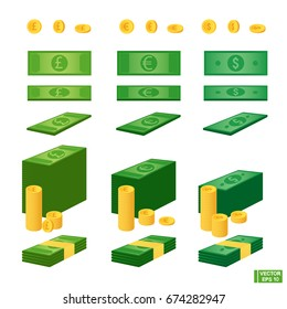 Vector image. A set of paper bills and coins. Money in different currencies. Euro, dollar, pound sterling. Growth and ratio of currencies