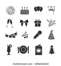 Vector image of set of party icons.