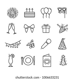 Vector image of set the party line icons.