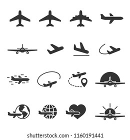 Vector image set of plane icons.