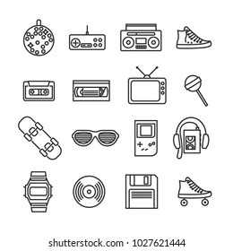 Vector image set of retro 80s line icons.