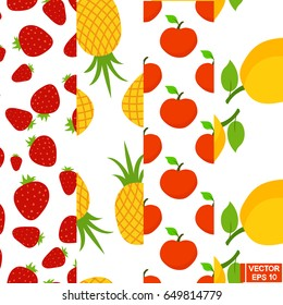 Vector image. A set of seamless patterns with fruits. Strawberry, apple, pineapple, lemon
