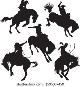 vector image of a set of silhouettes of cowboys on a wild horse mustang rodeo america