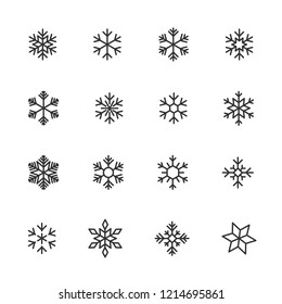 Vector image set of snowflake line icons.