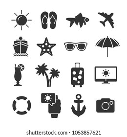 Vector image set of summer vacation icons.