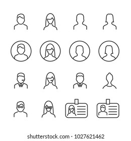 Vector image set of user line icons.