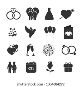 Vector image set of wedding icons.