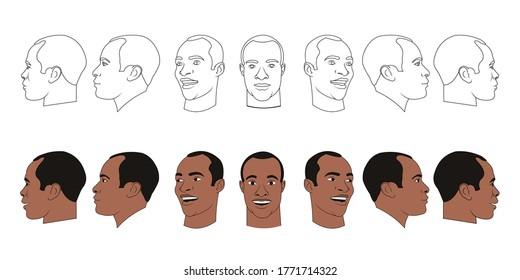 image vectorielle de sept angles et virages d'une tête mâle avec poils, alimentation frontale, profil, tour de trois quarts du visage en cinq tours