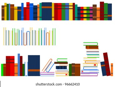 Vector image of several aligned rows of books in a shelf.