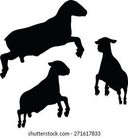 Vector Image - sheep silhouette with jumping pose isolated on white background