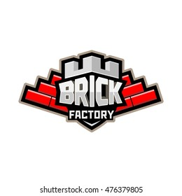 Vector image of shield in the style of the fortress of the word brick factory, a brick wall in the form of wings on a white background. illustration, background, image, banner, poster, symbol, badge
