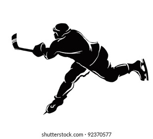 Vector image shows the ice hockey.