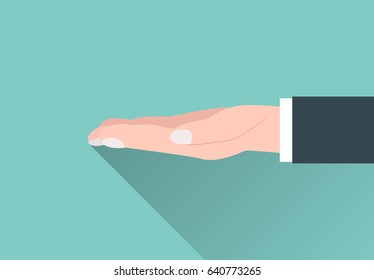 Vector image. Sign of an outstretched hand in a flat style. It symbolizes a request for help or a willingness to take something.