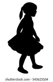 vector image of silhouette of beautiful baby girls