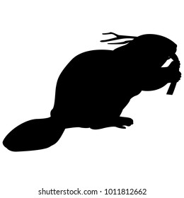 Vector image of a silhouette of a beaver on a white background