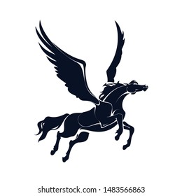 Vector image of a silhouette of a mythical creature of pegasus on a white background. Horse with wings on hind legs.