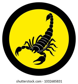 Vector image of a silhouette of a scorpion on a yellow background