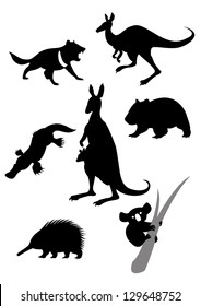 Vector image of silhouettes of australian animals