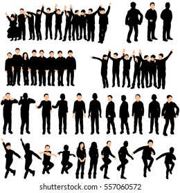 vector image of silhouettes of children set